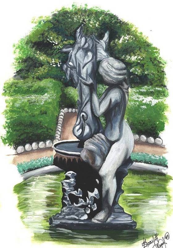 Fountain Art Print featuring the painting The Hidden Fountain by Scarlett Royal