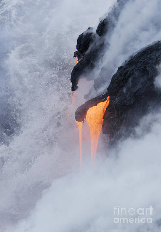 Active Art Print featuring the photograph Flowing Pahoehoe Lava by Ron Dahlquist - Printscapes