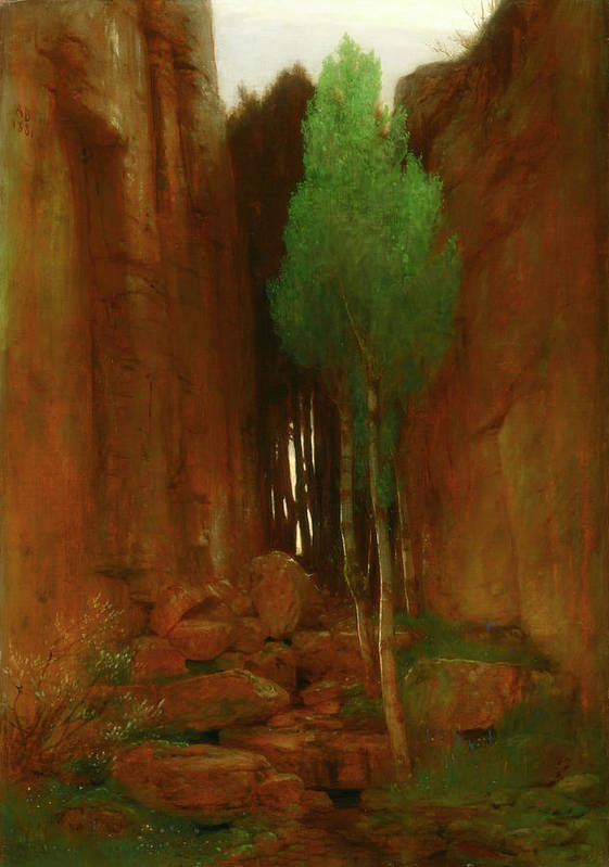 Painting Art Print featuring the painting Spring In A Narrow Gorge by Mountain Dreams