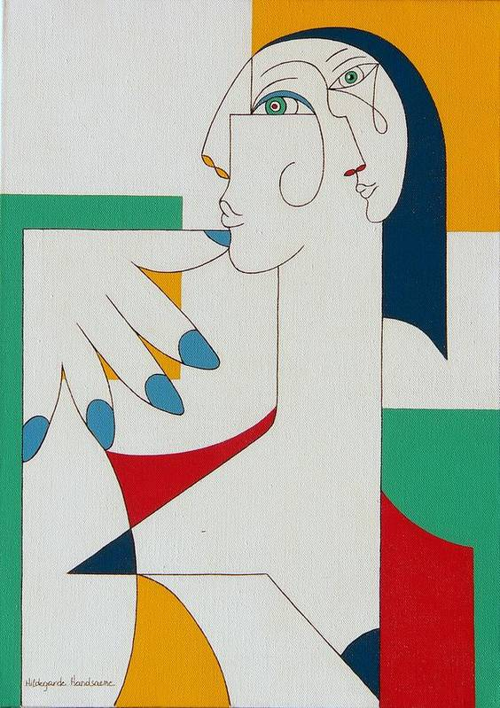 Portrait Art Print featuring the painting 5 Fingers by Hildegarde Handsaeme