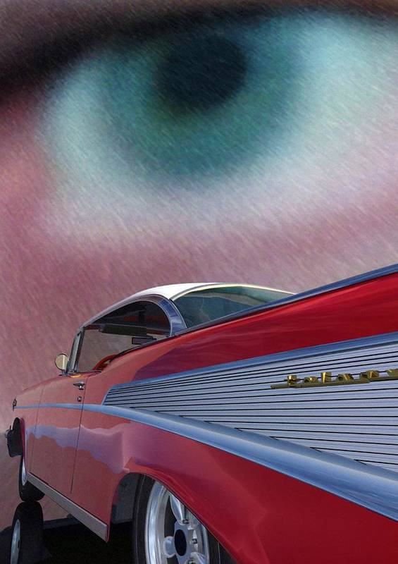 Classic Cars Art Print featuring the digital art A Second Look by Richard Rizzo