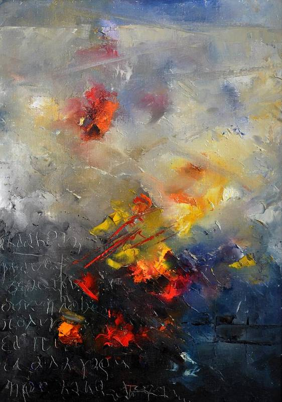 Abstract Art Print featuring the painting Abstract 0805 by Pol Ledent