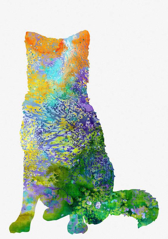 Akita Inu Art Print featuring the digital art Akita Inu by Erzebet S