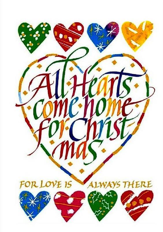 Christmas Art Print featuring the digital art All Hearts Come Home For Christmas by Karon Melillo DeVega
