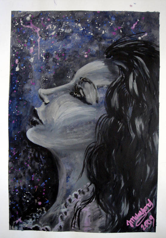 Art Print featuring the painting Amaya Looks To The Stars by Jenni Walford