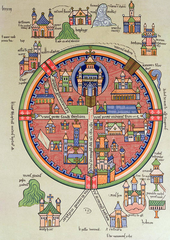 Map Of Jerusalem And Palestine Art Print featuring the drawing Ancient Map Of Jerusalem And Palestine by French School