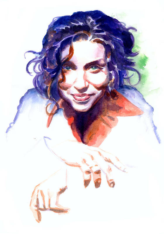 Ani Difranco Art Print featuring the painting Ani Difranco by Ken Meyer