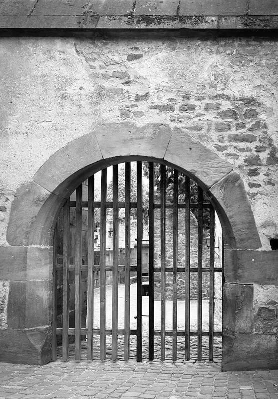 Heidelberg Art Print featuring the photograph Arched Gate B W by Teresa Mucha
