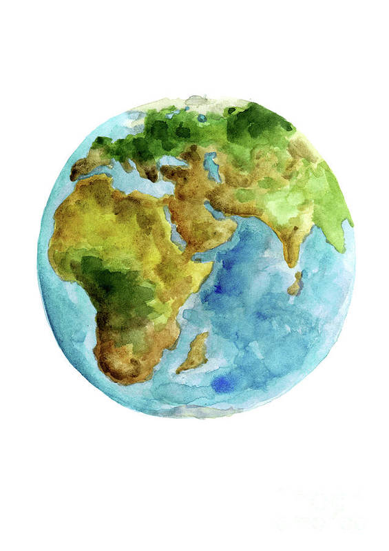 Planet Earth Asia Map Poster Africa Map Watercolor Painting Blue Green Yellow Globe Art Print Art Print