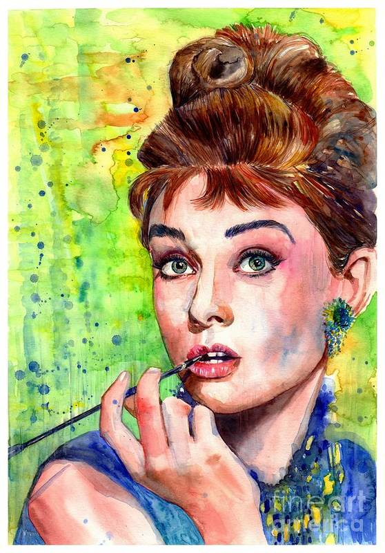 Audrey Hepburn Art Print featuring the painting Audrey Hepburn Watercolor by Suzann Sines