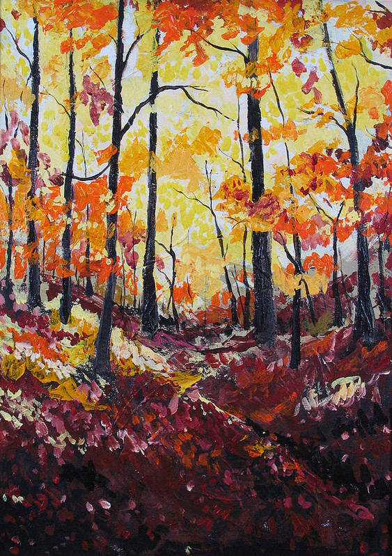 Autumn Art Print featuring the painting Autumn Gold by Rollin Kocsis