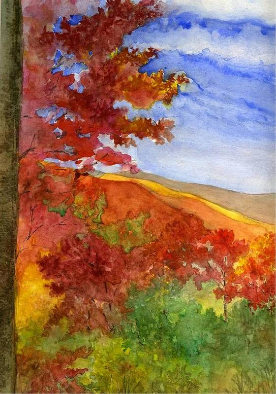 Landscape Art Print featuring the painting Autumn On The Cherohala Skyway by Lisa Bell
