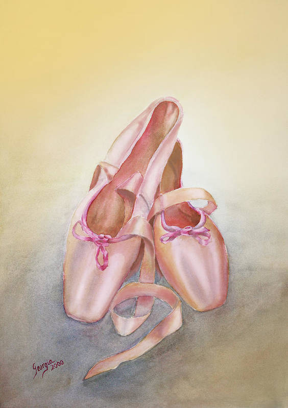 Ballet Shoes Art Print featuring the painting Ballet Shoes by Georgia Pistolis