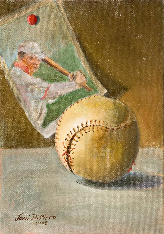 Sports Art Print featuring the painting Baseball And Card by Joni Dipirro