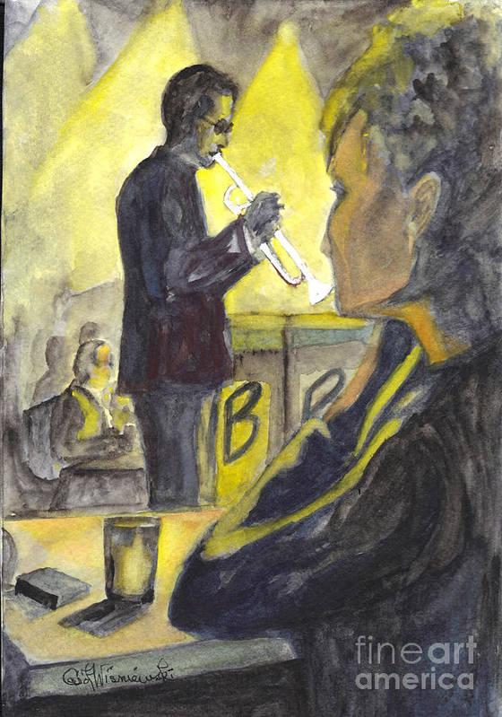 Jazz Art Print featuring the painting Bb Jazz by Carol Wisniewski