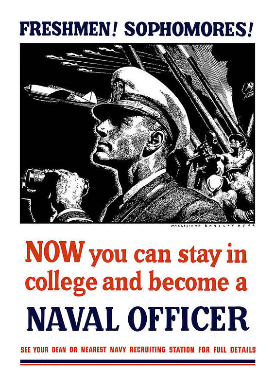 Navy Art Print featuring the mixed media Become A Naval Officer by War Is Hell Store