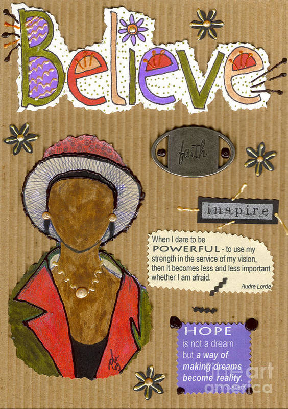Woman Art Print featuring the mixed media Believe Me by Angela L Walker