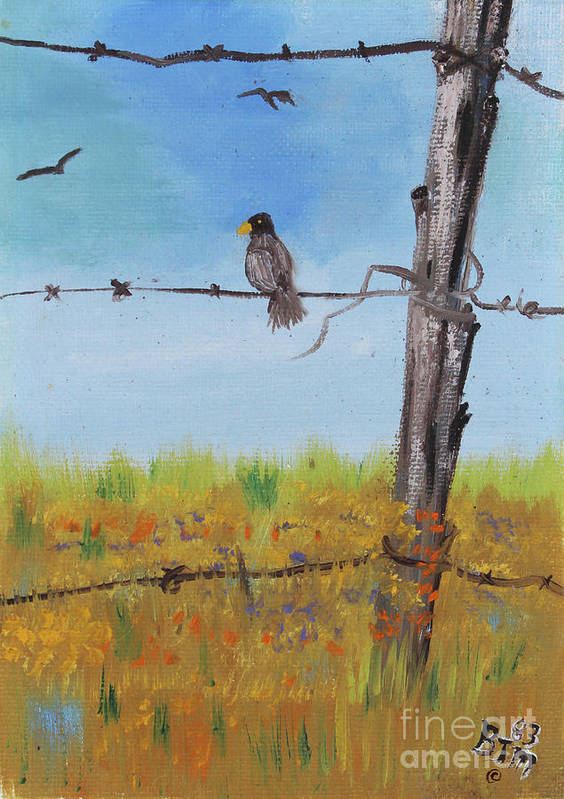 Bird On A Wire Art Print by Betty McGregor