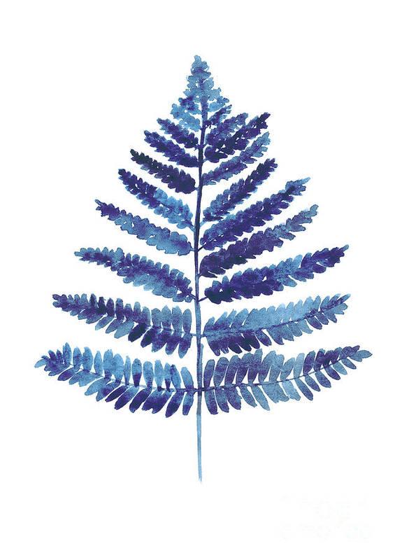 Ferns Art Print featuring the painting Blue Ferns Watercolor Art Print Painting by Joanna Szmerdt