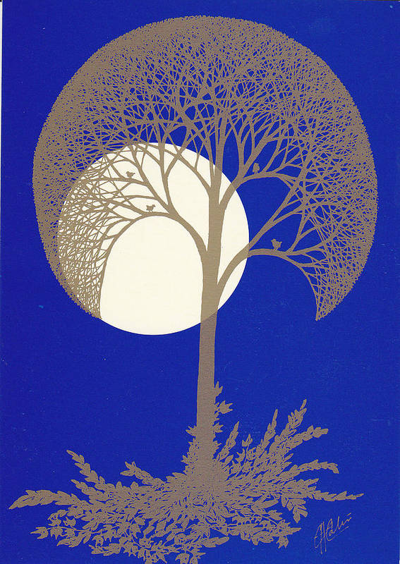 Art Print featuring the drawing Blue Gold Moon by Charles Cater