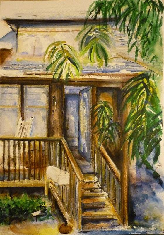 Blue Ridge Mountains Art Print featuring the painting Blue Ridge Cabins Blue Ridge Mountains by Lizzy Forrester