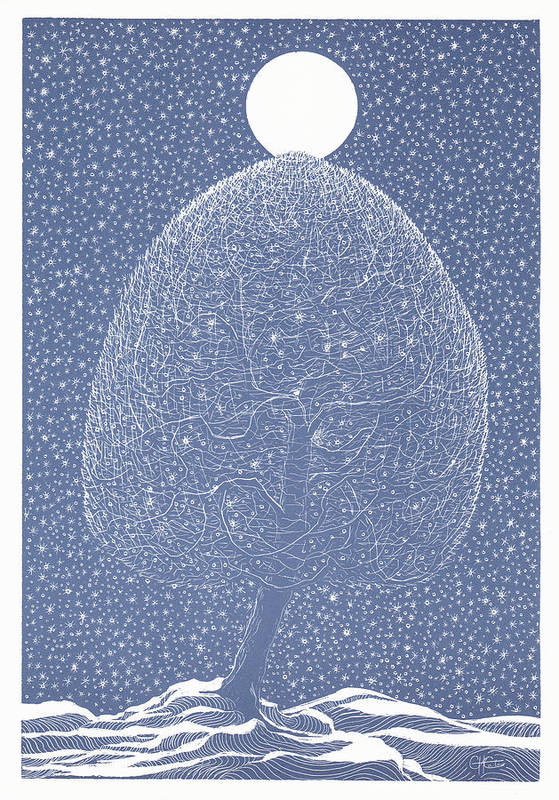 Art Print featuring the drawing Blue Shadow Tree by Charles Cater