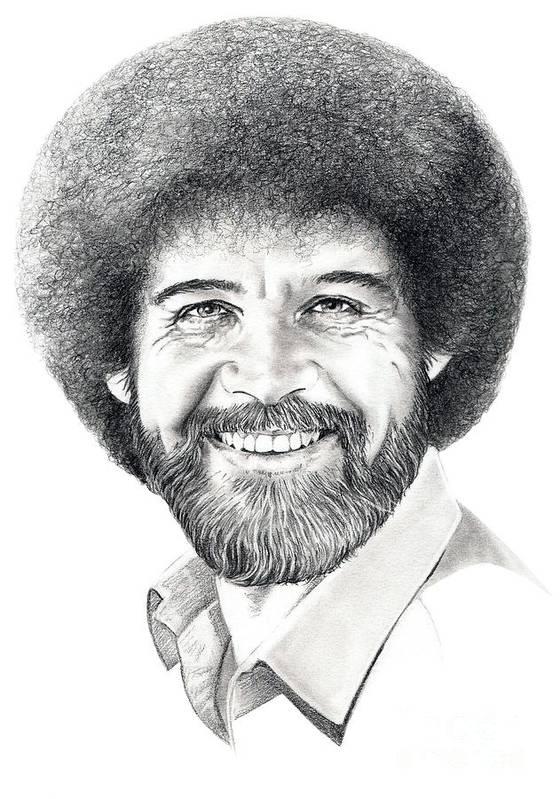 Pencil Art Print featuring the drawing Bob Ross by Murphy Elliott