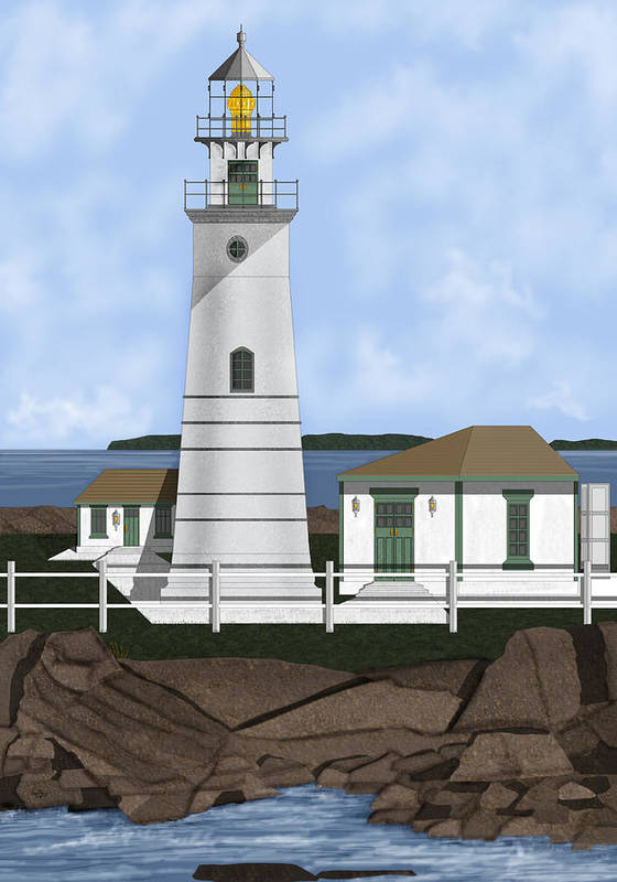 Lighthouse Art Print featuring the painting Boston Harbor Lighthouse On Brewster Island by Anne Norskog