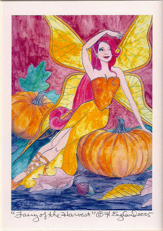 Fairy Fantasy Artwork Fields Autumn Butterflies Art Print featuring the painting Bountiful Harvest by Hilary England