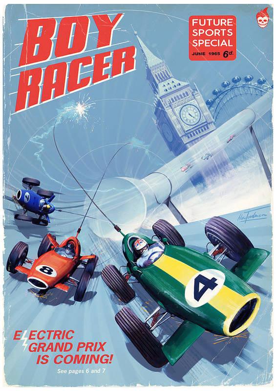 Eprix Art Print featuring the digital art Boy Racer by Alex Tomlinson
