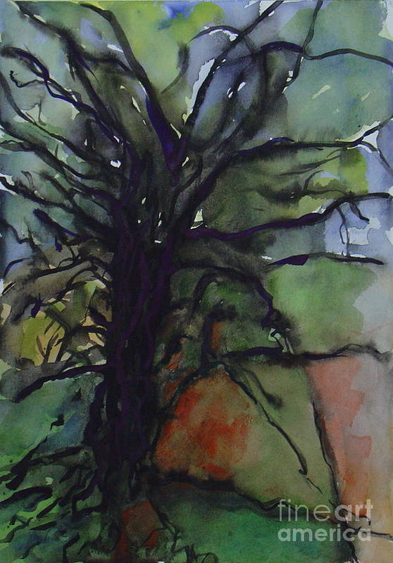 Tree Landscape Abstract Watercolor Original Blue Green Art Print featuring the painting Branching by Leila Atkinson