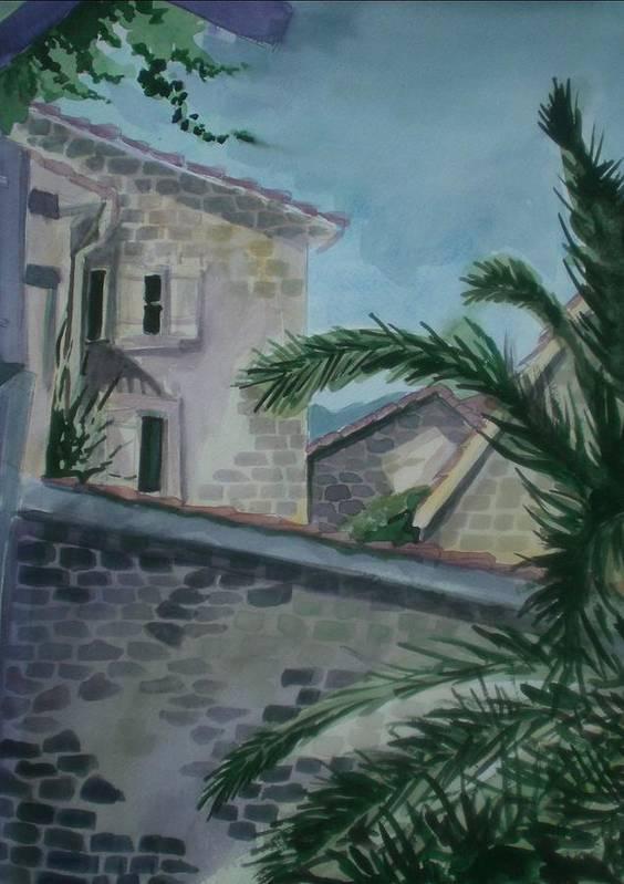 Montenegro Art Print featuring the painting Budva Old Town by Aleksandra Buha