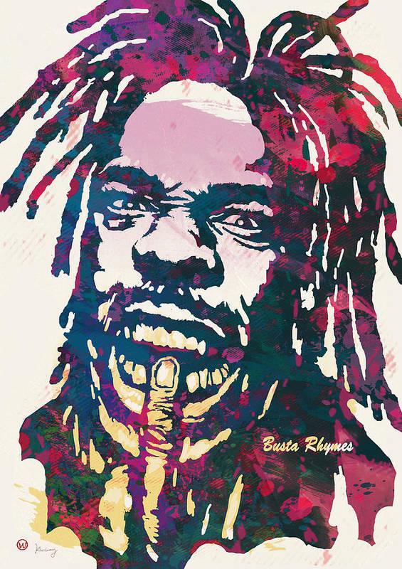 Trevor Tahiem Smith Art Print featuring the drawing Busta Rhymes Pop Art Poster by Kim Wang