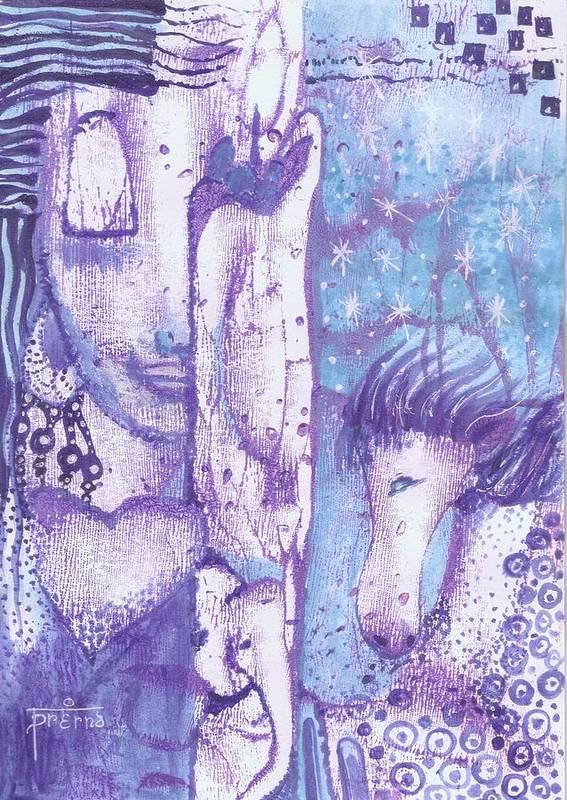 Meditating Woman Art Print featuring the mixed media Calling Upon Spirit Animals by Prerna Poojara