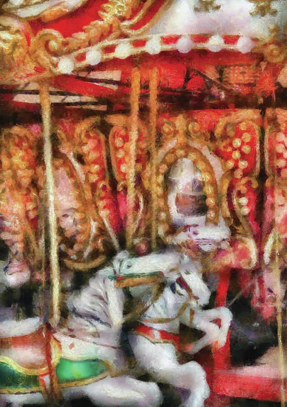 Savad Print featuring the photograph Carnival - The Carousel - Painted by Mike Savad