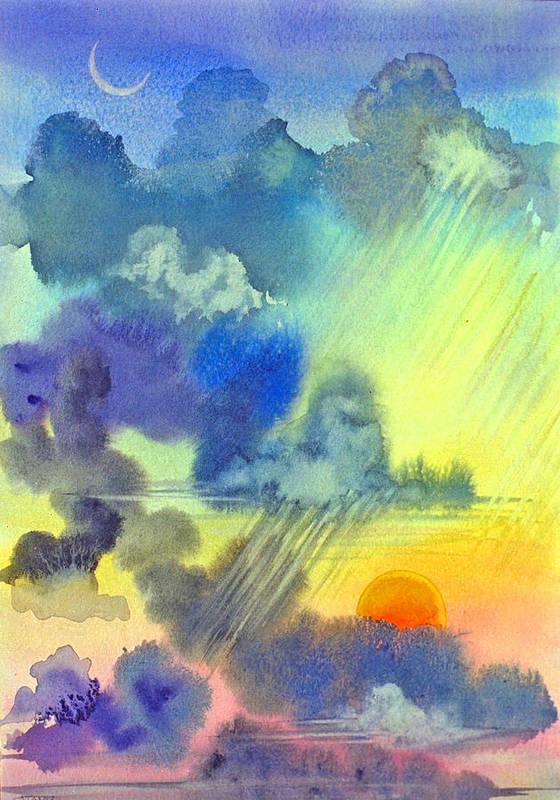 Sunset Crescent Moon Clouds Sky Rain Carribean Tropical Art Print featuring the painting Carribean Rain At Sunset by Jennifer Baird