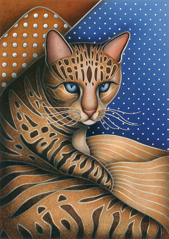 Brown Tabby Cat Art Print featuring the painting Cat Andrea by Carol Wilson
