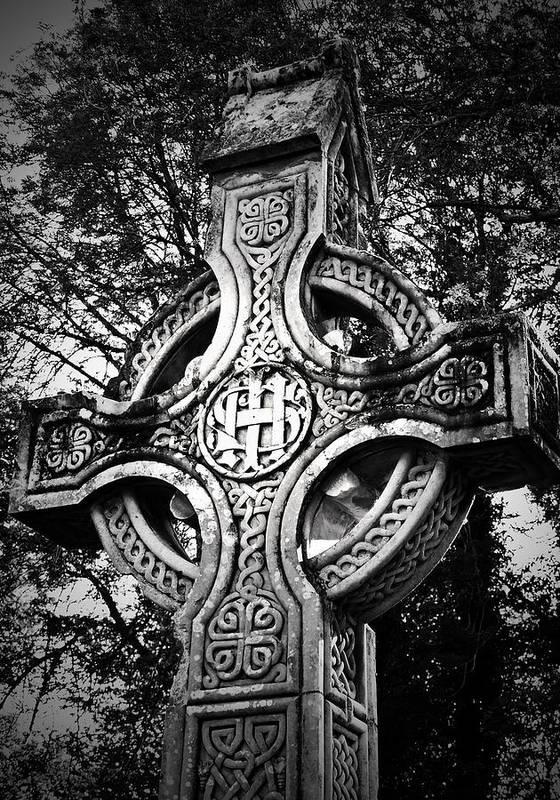 Irish Print featuring the photograph Celtic Cross Detail Killarney Ireland by Teresa Mucha