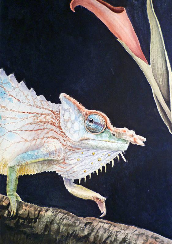Chameleon Art Print featuring the painting Chameleon by Irina Sztukowski