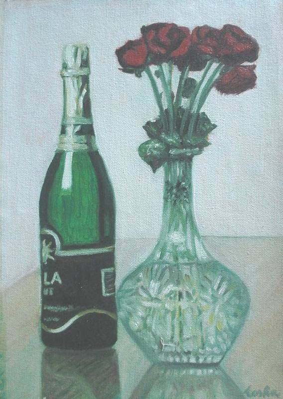 Champagne Art Print featuring the painting Champagne And Roses by Usha Shantharam