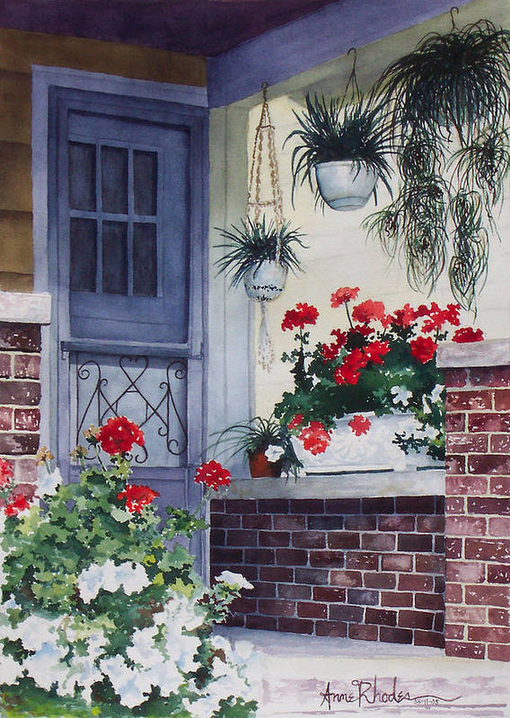 Floral Art Print featuring the painting Cheery Welcome by Anne Rhodes
