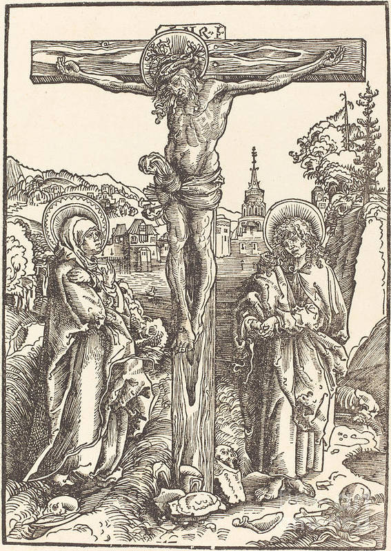 Art Print featuring the drawing Christ On The Cross Between The Virgin And Saint John by Lucas Cranach The Elder