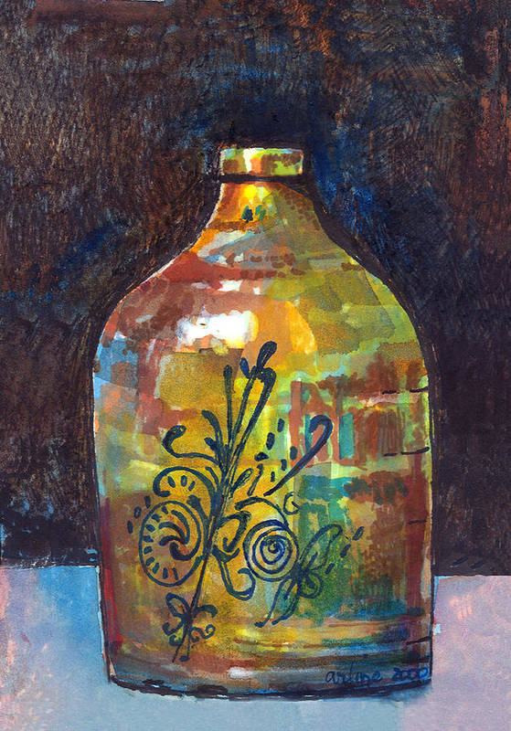 Jug Art Print featuring the painting Colorful Jug by Arline Wagner