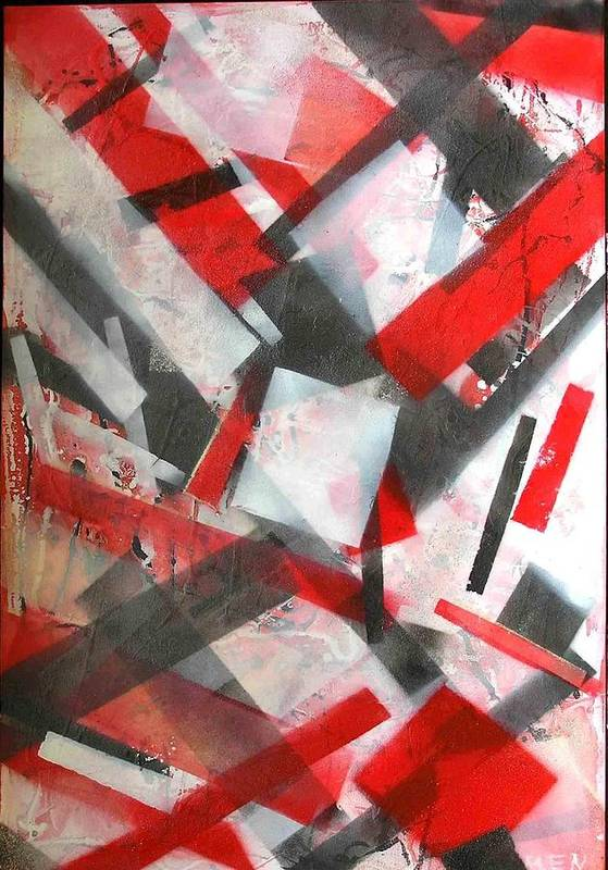Abstract Art Print featuring the painting Construction In Red by Evguenia Men