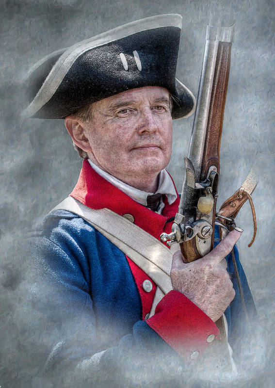Revolutionary War Soldier Art Print featuring the digital art Continental Soldier Portrait by Randy Steele