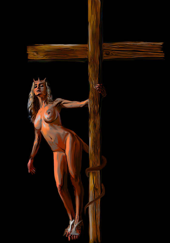 She Devil Art Print featuring the painting Crucified by Tbone Oliver