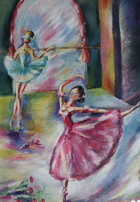 Ballerinas Print featuring the painting Dancing Ballerinas by Khatuna Buzzell