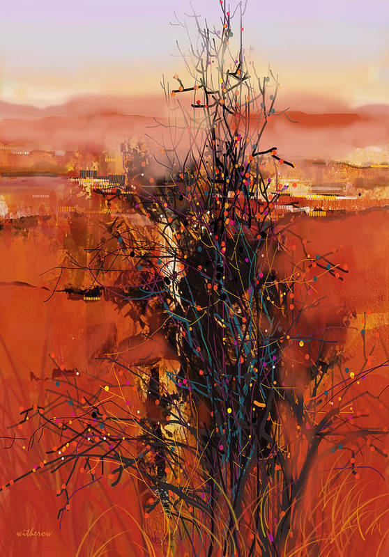 Landscape Art Print featuring the digital art Desert Bloom by Dale Witherow