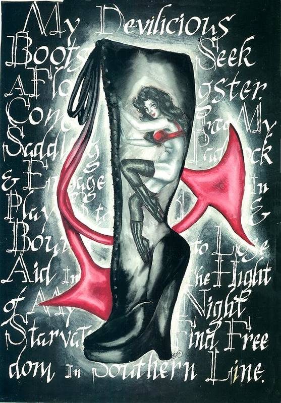 Erotic Art Print featuring the drawing Devilicious Boot by Scarlett Royal