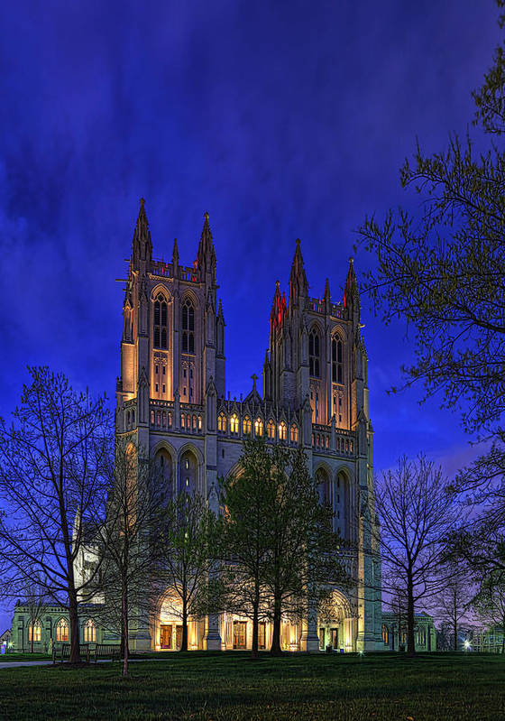 Metro Art Print featuring the digital art Digital Liquid - Washington National Cathedral After Sunset by Metro DC Photography